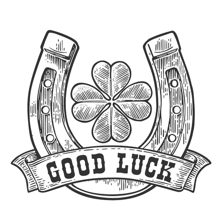 black luck: Four leaf clover, horseshoe, ribbon with text good luck. Vintage vector engraving illustration for info graphic, poster, web. Black on white background Illustration