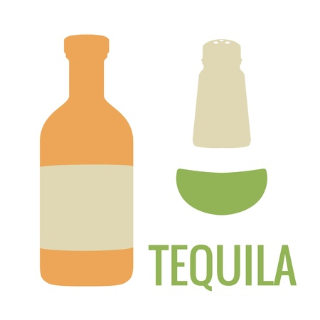 Stel tequila icoon. Vector flat illustratie. Voor web, info graphics Stock Illustratie