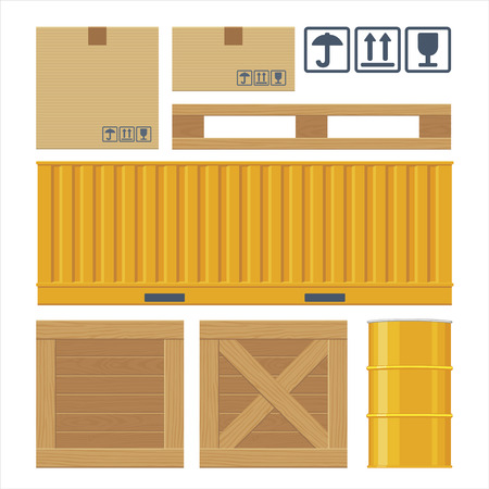 hogshead: Brown carton packaging box, pallet, yellow container, wooden crates, metal barrel isolated on white background with fragile attention signs. Flat vector set illustration for icon, banner, info graphic. Illustration