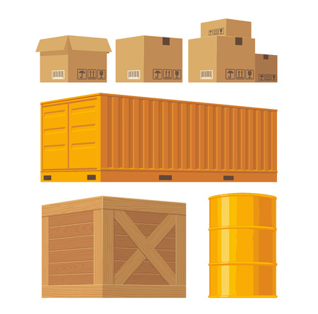 Brown carton packaging box, pallet, yellow container, wooden crates, metal barrel isolated on white background with fragile attention signs. Vector set illustration for icon, banner, infographic