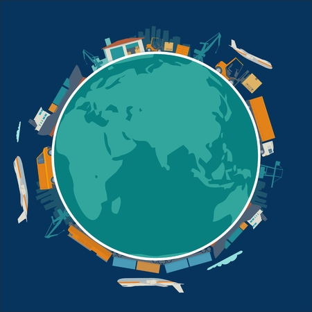 flat earth: Global logistic, shipping and worldwide delivery business concept - production process from factory to the shop.  Earth planet globe surrounded plane, train, ship, warehouse. Flat vector illustration