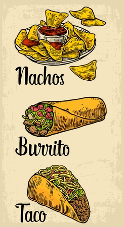 nachos: Mexican traditional food set with text message, burrito, tacos, chili, tomato, nachos. Vector vintage engraved illustration for menu, poster, web. Isolated on beige background Illustration