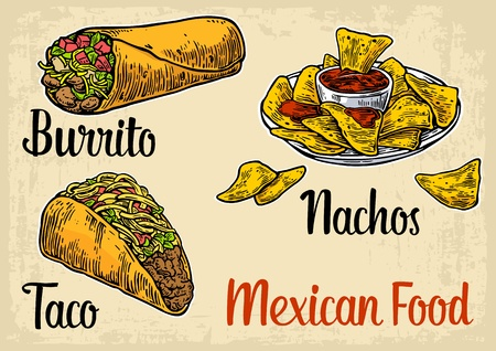 Mexican traditional food set with text message, burrito, tacos, chili, tomato, nachos. Vector vintage engraved illustration for menu, poster, web. Isolated on beige background Illustration