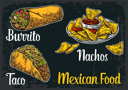 mexican food plate: Mexican traditional food set with text message, burrito, tacos, chili, tomato, nachos. Vector vintage engraved illustration for menu, poster, web. Isolated on dark background Illustration