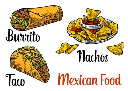 food: Mexican traditional food set with text message, burrito, tacos, chili, tomato, nachos. Vector vintage engraved illustration for menu, poster, web. Isolated on white background Illustration