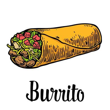 Burrito - mexican traditional food. Vector color vintage engraved illustration for menu, poster, web. Isolated on white background. Stock Illustratie