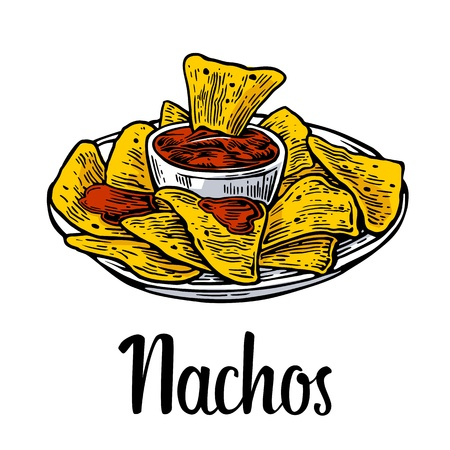 plate of food: Nachos- mexican traditional food. Vector vintage engraved illustration for menu, poster, web. Isolated on white background