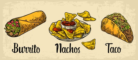 food: Mexican traditional food set with text message, burrito, tacos, chili, tomato, nachos. Vector vintage engraved illustration for menu, poster, web. Isolated on beige background Illustration