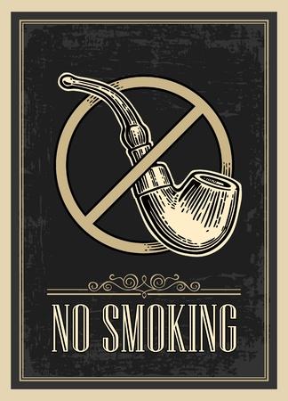 cartel retro - La señal de no fumar en el estilo de la vendimia. Vector ilustración grabada aislada en el fondo oscuro. Para bares, restaurantes, cafeterías, pubs