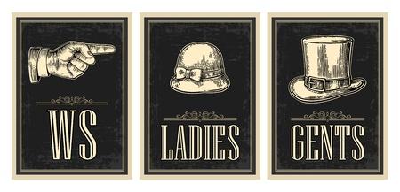 화장실 빈티지 그런 지 포스터 복고풍. 여성, 센트, 손가락을 가리키는. 벡터 빈티지 검정색 배경에 그림을 새겨 져. 바, 레스토랑, 카페, 술집하십시오. 일러스트