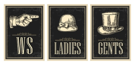 toilet door: Toilet retro vintage grunge poster. Ladies, Cents, Pointing finger.  Vector vintage engraved illustration on a black background.  For bars, restaurants, cafes, pubs.