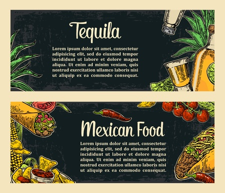 mexican background: Mexican traditional food restaurant menu template with traditional spicy dish. burrito, tacos, tomato, nachos, tequila, lime. Vector vintage engraved illustration on dark background.  For poster, web