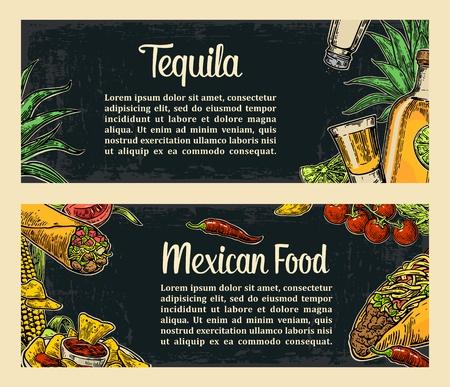 Plantilla mexicana tradicional menú de un restaurante de comida con picante plato tradicional. burritos, tacos, tomate, nachos, tequila, lima. la vendimia del vector ilustración grabada sobre un fondo oscuro. Para el cartel, web Foto de archivo - 54777170