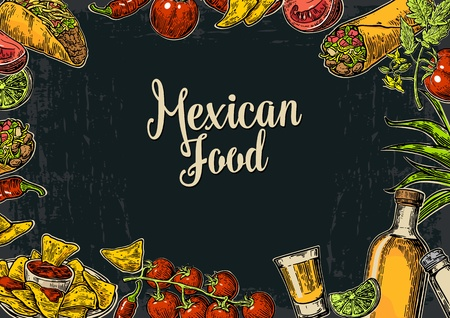 mexican food plate: Mexican traditional food restaurant menu template with traditional spicy dish. burrito, tacos, tomato, nachos, tequila, lime. Vector vintage engraved illustration on dark background.  For poster, web