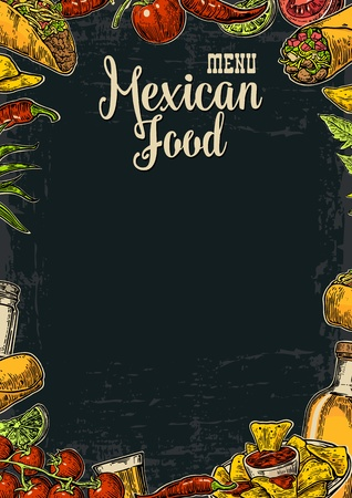 Mexican traditional food restaurant menu template with traditional spicy dish. burrito, tacos, tomato, nachos, tequila, lime. Vector vintage engraved illustration on dark background.  For poster, web