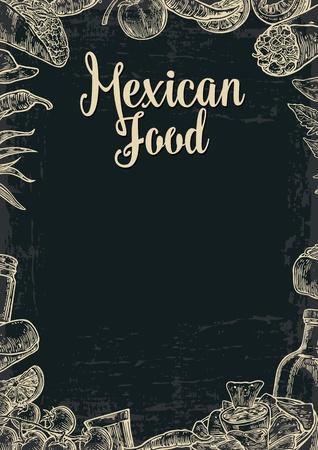 Mexikanische traditionellen Speisen Restaurant Menü-Vorlage mit traditionellen würziges Gericht. Burritos, Tacos, Tomaten, Nachos, Tequila, Kalk. Vector Vintage Illustration auf dunklem Hintergrund eingraviert. Für Poster, Web-