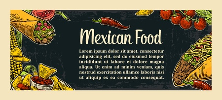 carte: Mexican traditional food restaurant menu template with traditional spicy dish. burrito, tacos, tomato, nachos. Vector vintage engraved illustration on dark background.  For poster, web, carte
