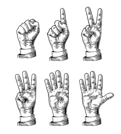 0 ~ 5 までカウントの手のジェスチャーのセットです。男性の手のサイン。ベクトル ヴィンテージ刻まれたイラスト白背景に分離されました。  イラスト・ベクター素材