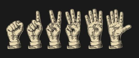 Set of gestures of hands counting from zero to five. Male Hand sign. Vector vintage engraved illustration isolated on white background. Illustration