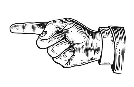 Dedo señalador. Vector vendimia ilustración grabada negro aislado en un fondo blanco. Muestra de la mano para la web, carteles, información gráfica Ilustración de vector