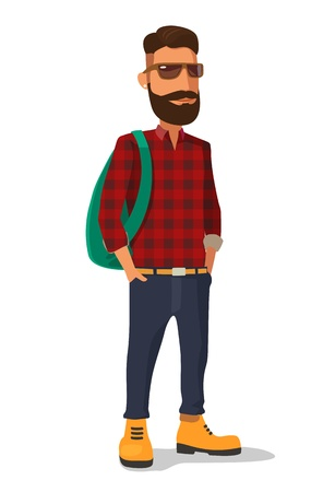 Hipster in the yellow shoes and a red plaid shirt. Vector flat illustration on white background.  イラスト・ベクター素材