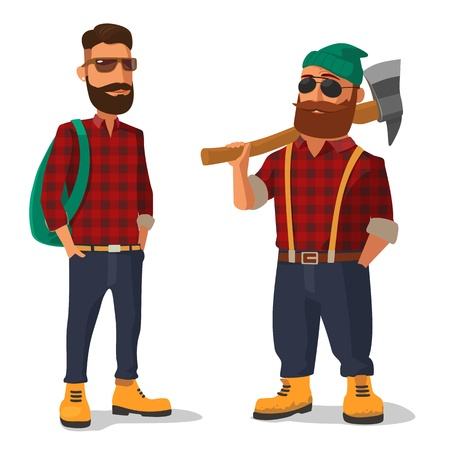 logging: Lumberjack and hipster in the yellow shoes and a red plaid shirt. Vector flat illustration on white background.