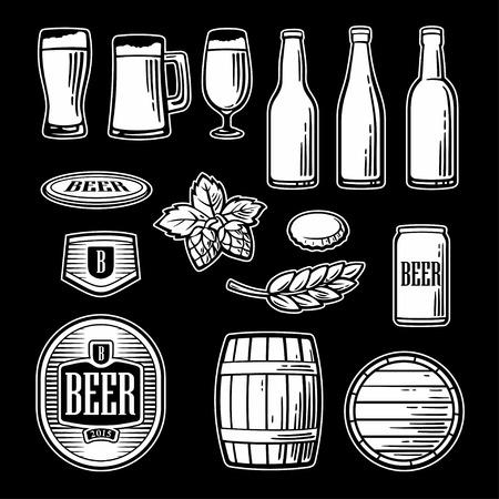 pint glass: Beer vector flat icons set - bottle, glass, barrel, pint. Black and white Vintage illustration for web design,  , brochure, poster. Illustration