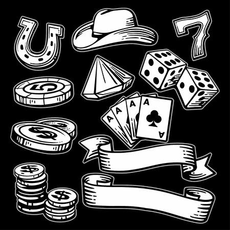 stetson: Casino set symbols and stetson. Black and white vintage vector illustration on black background for label, poster, web,  icon, banner Illustration