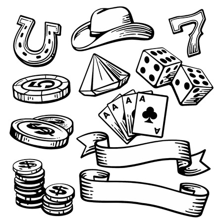 Casino set symbols  . Black and white vintage vector illustration on white background for label, poster, web,  icon, banner