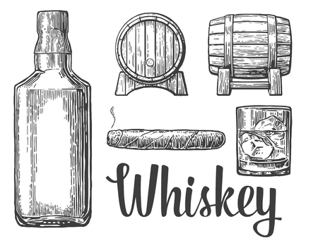 Whiskey glass with ice cubes barrel bottle cigar. Vector vintage illustration.  white background. Иллюстрация