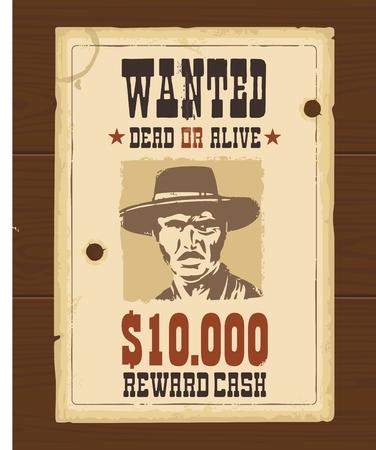Vector vintage retrò modello Wanted Poster occidentale. Vecchia struttura di carta scuro sulla superficie del legno