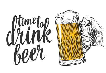 ビールのジョッキを持っている男性の手。ウェブ、ポスター、飲み物ビール パーティーの時間への招待状のイラストを彫刻のヴィンテージ。白い背