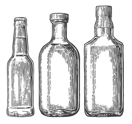 engraving print: Set bottle for beer, whiskey, tequila. engraved illustration isolated on white vintage background.