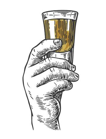 アルコール飲料のショットを持っている男性の手。手描きのデザイン要素。ビンテージ ラベル、ポスター、パーティーへの招待状のイラストを彫刻