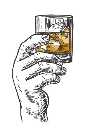 drunkard: Male hand holding a shot of alcohol drink. Hand drawn design element.Vintage engraving illustration for label, poster, invitation to a party.