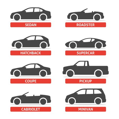 Car Type and Model Objects icons Set, automobile. black illustration isolated on white background with shadow. Variants of car body silhouette for web.