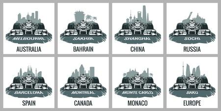 prix: Set vintage poster Grand Prix. Barcelona, Spain, Montreal, Canada, Monte Carlo, Monaco, Baku, Europe, Melbourne, Australia, Sakhir, BahrainShanghai, China, Sochi, Russia.