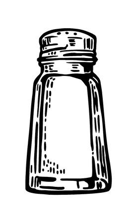 塩コショウ入れ。ビンテージ ベクトル ラベル、ポスター、web 用イラストを彫刻します。  イラスト・ベクター素材