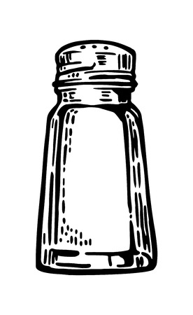 Salt shaker. Vintage vector engraving illustration for label, poster, web.