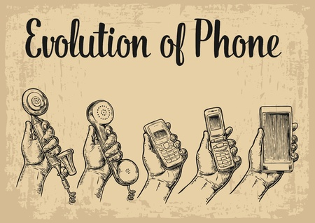 Evolution of communication devices from classic phone to modern mobile phone with hand man. Vintage vector engraving illustration for info graphic, poster, web Vettoriali