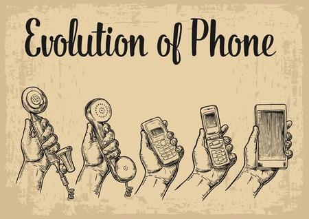 Evoluzione di dispositivi di comunicazione dal telefono classico al moderno telefono cellulare con l'uomo a mano. Illustrazione incisione vintage vettoriale per info grafica, poster, web Vettoriali