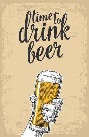 Male hand holding a beer glass. Vintage vector engraving illustration for web, poster, invitation to party - time to drink. Isolated on baige old paper texture  background.