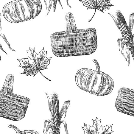 Seamless pattern con foglie, zucca, pannocchia, foglia. Vintage illustrazione incisione vettore per logotipo, etichetta, poster, presentazioni. Nero, colore bianco.
