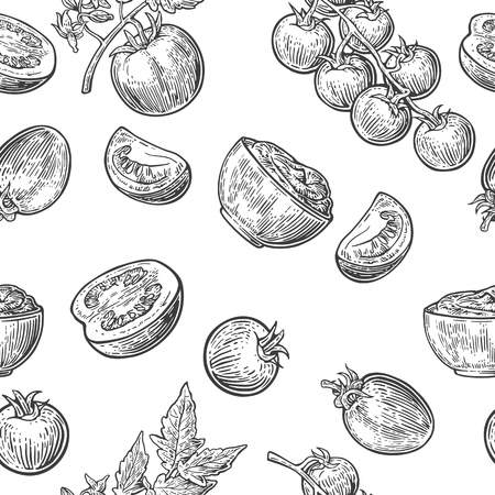Seamless pattern with Tomato, half and slice. Black and white color. Vintage vector hand drawn engraving illustration.