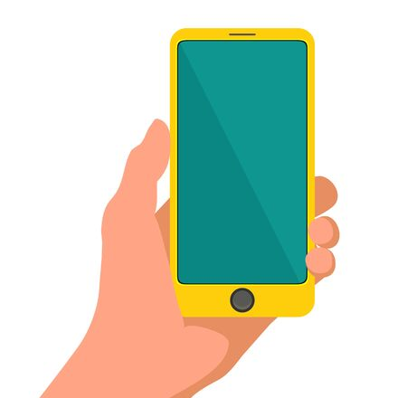 Hand holding smart yellow phone. Touching blank screen. Flat design. Vector illustration on white isolated background