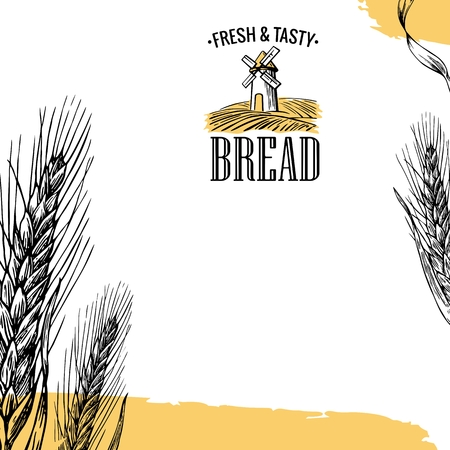 grain field: Mill, Wheat field, Ears. Engraving illustration. Vintage vector engraving illustration for label flayer for bakery shop. Illustration