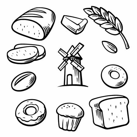 produits céréaliers: Bakery réglé icône. Vector Illustration Pain et symboles de cuisine