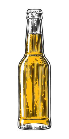 Botella de cerveza. la vendimia del vector ilustración grabada aislado en el fondo blanco