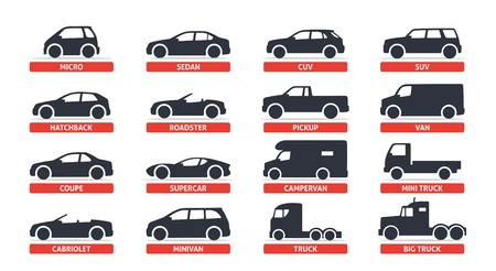 Car Type and Model Objects icons Set, automobile. Vector black illustration isolated on white background with shadow. Variants of car body silhouette for web.