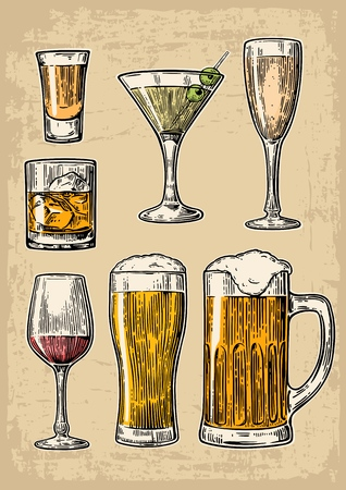 brandy: Set glass beer, whiskey, wine, tequila, cognac, champagne, cocktails. Vector engraved illustration isolated on beige vintage background.